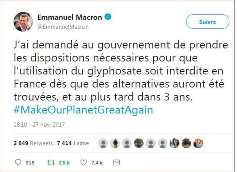 Tweet de Macron sur le glyphosate