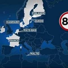 La France passe à 8O km/h sur certaines routes