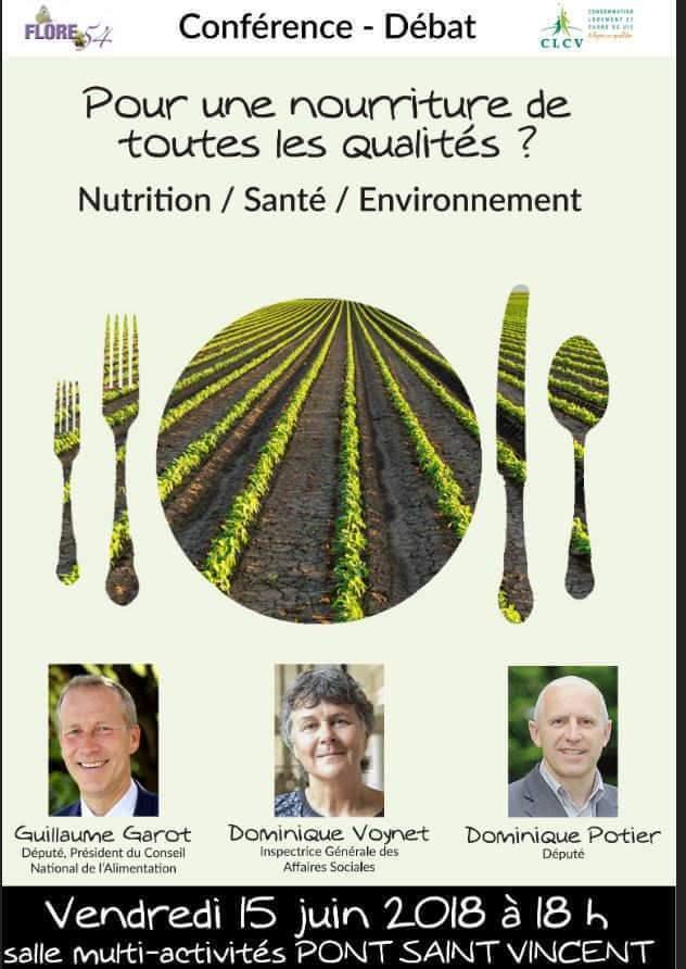 Conférence sur la nourriture de qualité à Pont-sain-Vincent, le 15 juin 2018 (affiche)
