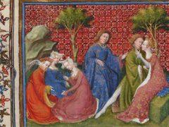 Sous l'œil d'un chaperon, un Lancelot aux mains baladeuses embrasse Guenièvre. Lancelot du Lac, BNF ms. Français 118 f. 219v