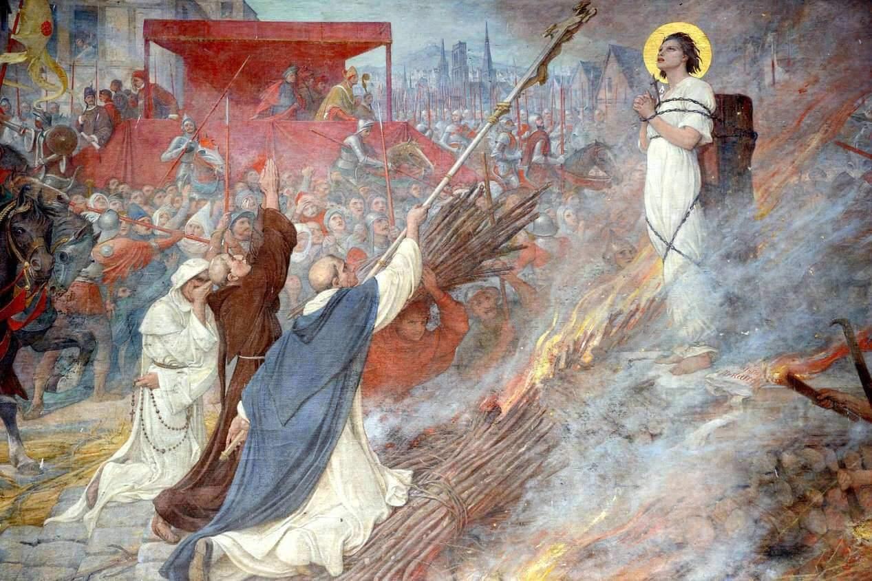 Jeanne d'Arc au bûcher (fresque de la basilique de Domrémy-DR)