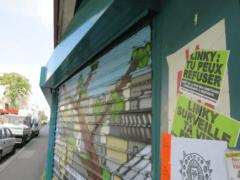 Des messages anti-Linky ont fleuri sur les murs de certaines communes, comme ici en région parisienne. Carole Salères, CC BY-SA
