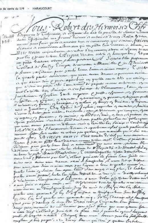 L'acte notarié par lequel Robert des Armoises et son épouse Jeanne du Lys, Pucelle de France, vendent la propriété de Haracourt (copié par Dom Calmet)