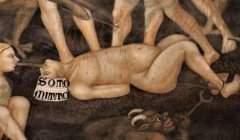Châtiment de deux homosexuels lors du Jugement dernier. Un diable, à droite, empale un homme qui porte sur la tête un bonnet sur lequel est écrit « Sottomito » (Sodomite). A gauche, son partenaire est transpercé par la bouche. Fresque de Taddeo di Bartolo, San Giminiano, 1393. Wikipédia, CC BY-SA