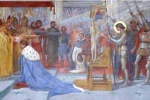 Tableau de Lionel ROYER représentant Jeanne d'Arc dans la basilique du Bois Chênu (DR)