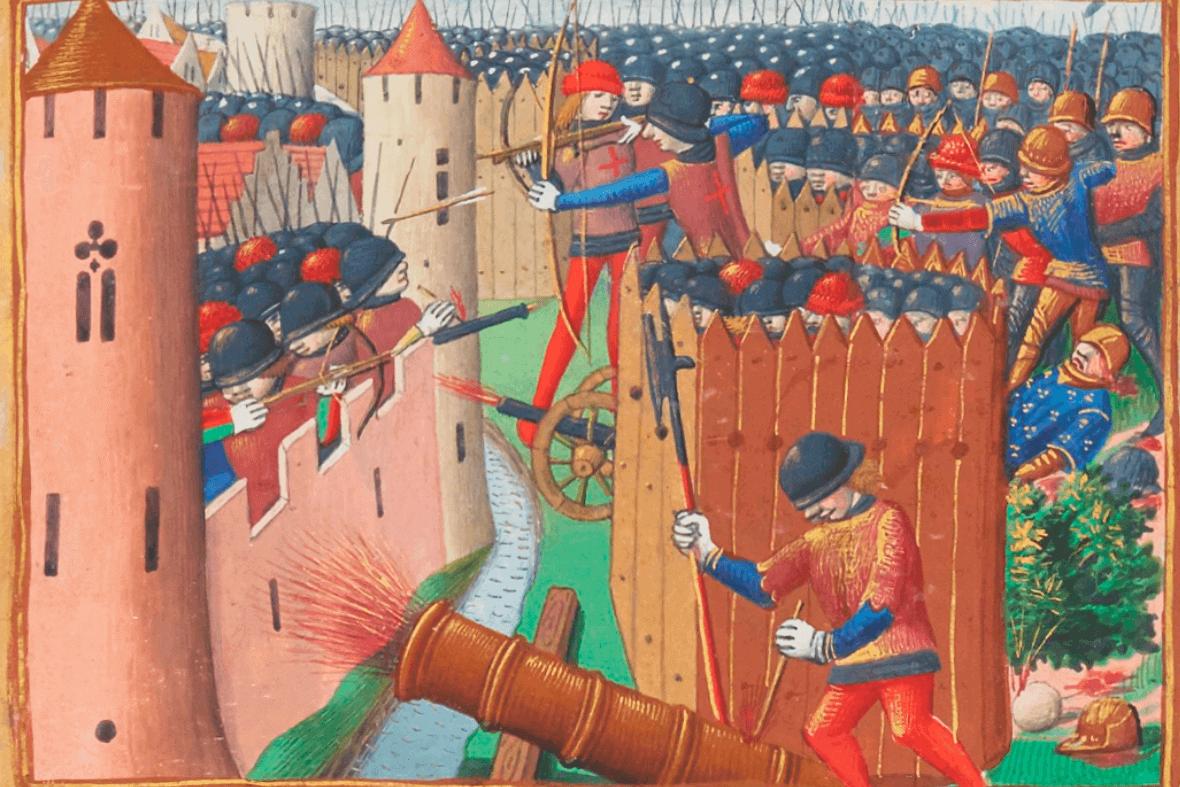 Le siège d'Orléans, enluminure du manuscrit de Martial d'Auvergne, Les Vigiles de Charles VII, Paris, BnF, vers 1484.