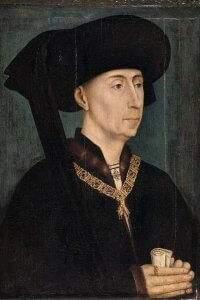 Philippe III le Bon portant le collier de l'ordre de la Toison d'or et le chaperon à cornette pendante (copie d'après Rogier van der Weyden, vers 1450, musée des beaux-arts de Dijon). Wikipedia