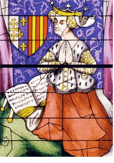 Yolande d'Aragon, vitrail du bras nord du transept de la cathédrale Saint-Julien du Mans (wikipedia)