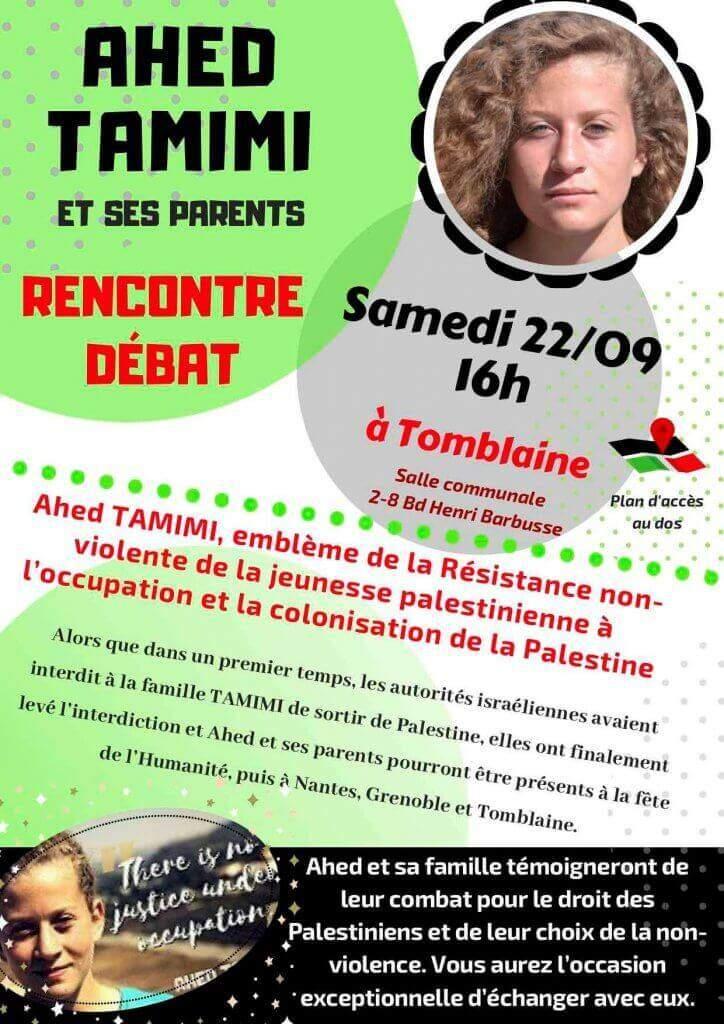Tournée en France de Ahed Hamimi (affiche France-Palestine)