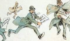 « Journalistes propageant des fake news ». Dessin du caricaturiste américain Frederick Burr Opper, 1894. Frederick Burr Opper/Wikimedia