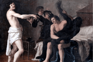 Scène de mœurs, dit Le rapt de la négresse, peinture signée Christiaen van Couwenbergh. [Delft, Pays-Bas], huile sur toile, 105x128 cm, 1632. Cette œuvre représentant le viol d'une femme noire choqua ses contemporains, non pas par sa violence, mais par la représentation d'une relation sexuelle interraciale, jugée déplacée à l'époque. Flickr/Christiaen van Couwenbergh (1604-1667),
