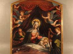Sommeil de l'Enfant Jésus, huile sur toile, début du XVIIe siècle, 190 x 175 cm, Dole, collégiale NotreDame. Crédit photographique : « Propriété de la de la ville de Dole, cliché Ville de Dole »