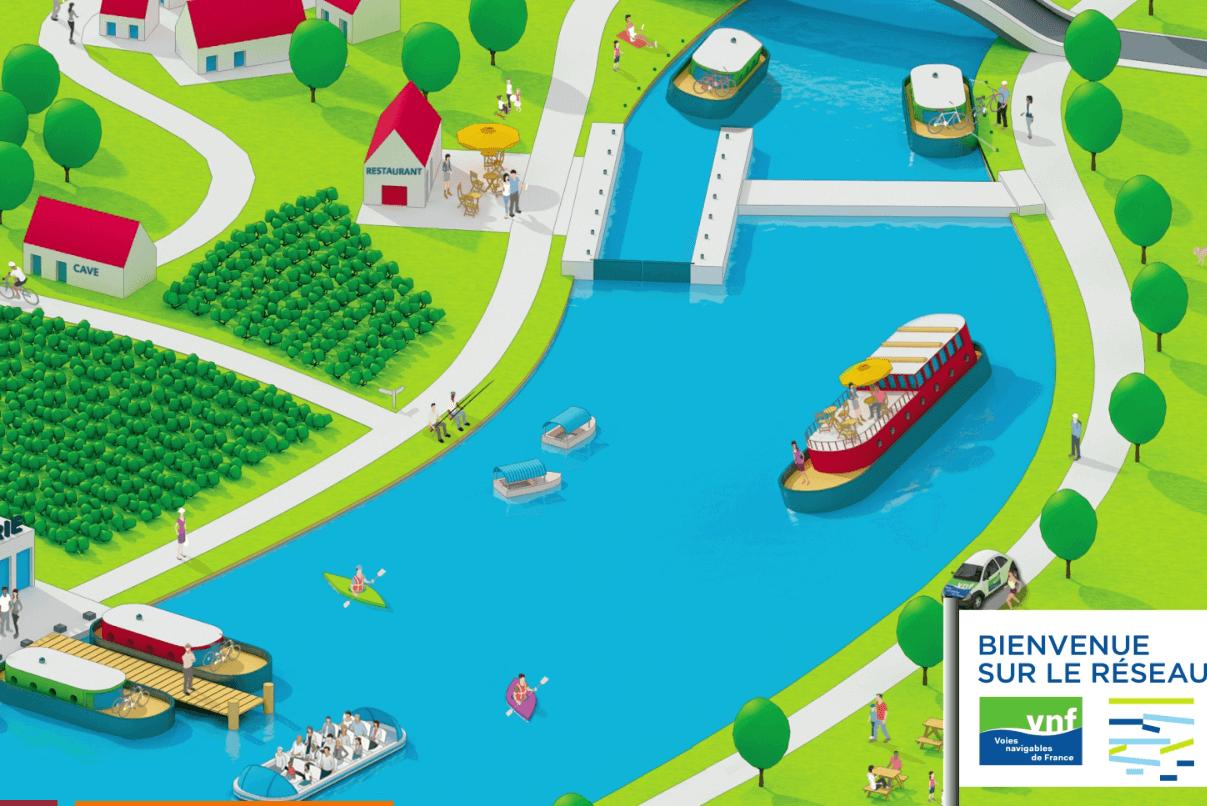 Voies Navigables de France : un réseaux de rivières et canaux très dense dans le Grand Est (capture site VNF)