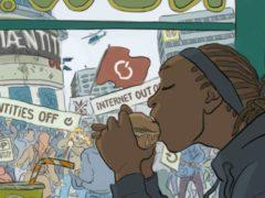 Un jeune homme mange un burger sans prêter attention à une manifestation contre un réseau social devenu hégémonique. Simon & Emilie/Mediaentity, CC BY-SA