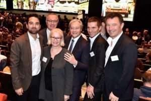 De gauche à droite : Arnaud Robinet, Henry Lemoine, Michèle Lutz, Laurent Hénart, David Valence et Franck Leroy ©Stadler - Région grand Est