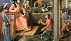 Le versement de taxes à un seigneur, illustration des Traités théologiques, par le Maître d'Anne de Bretagne. Vers 1490, Bibliothèque nationale de France