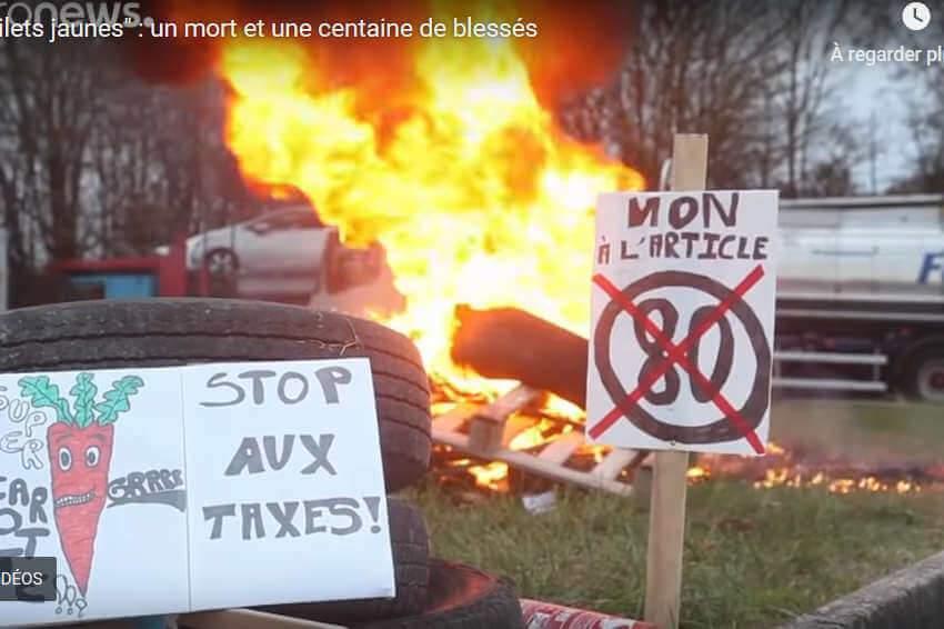 Journée du 17 novembre 2018 émaillée de nombreux incidents (capture euronews)
