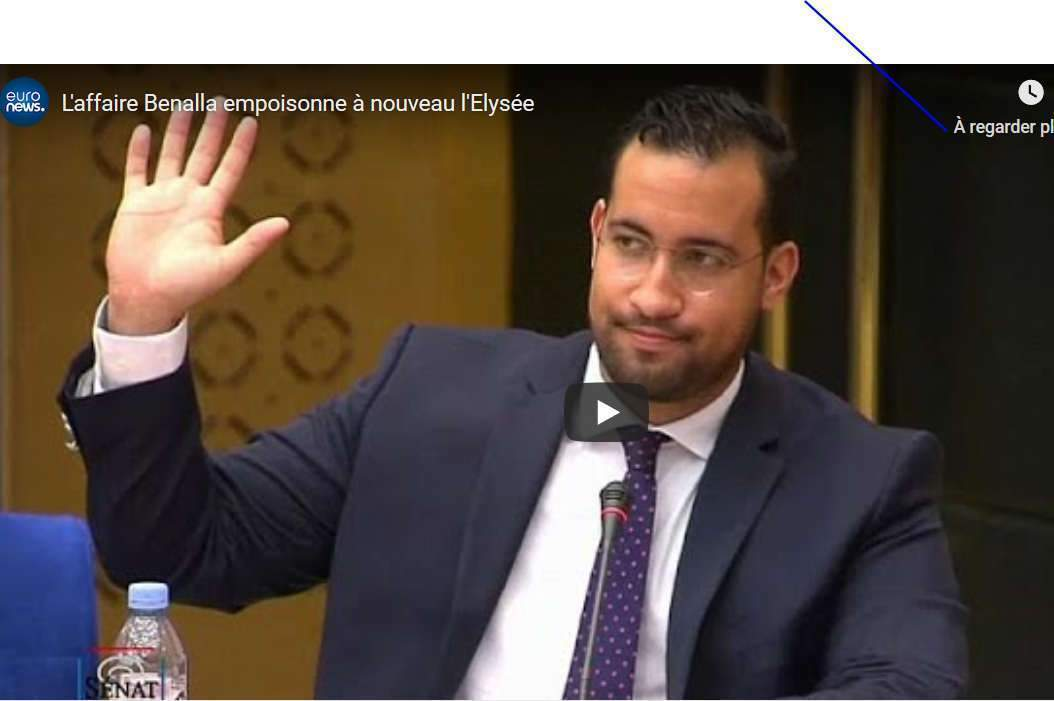 Alexandre Benalla devant la commission parlementaire du Sénat (capture euronews)