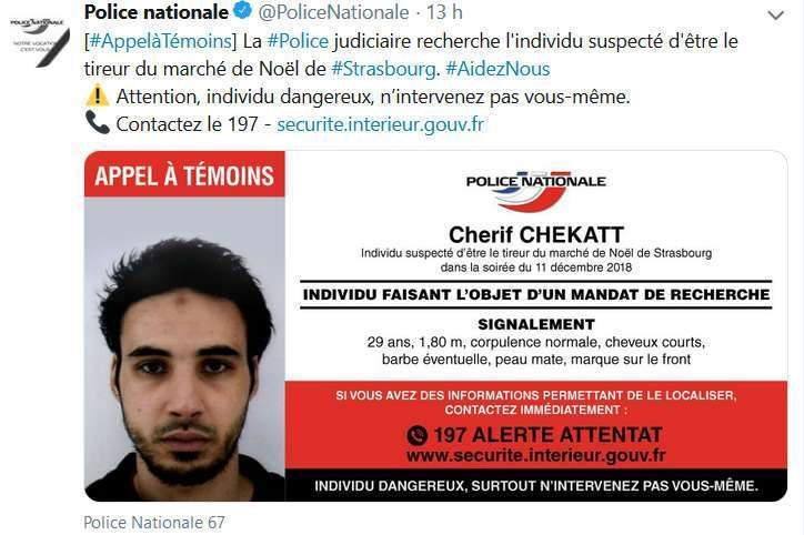 Appel à témoins de la police pour tenter de localiser le tireur présumé de Strasbourg