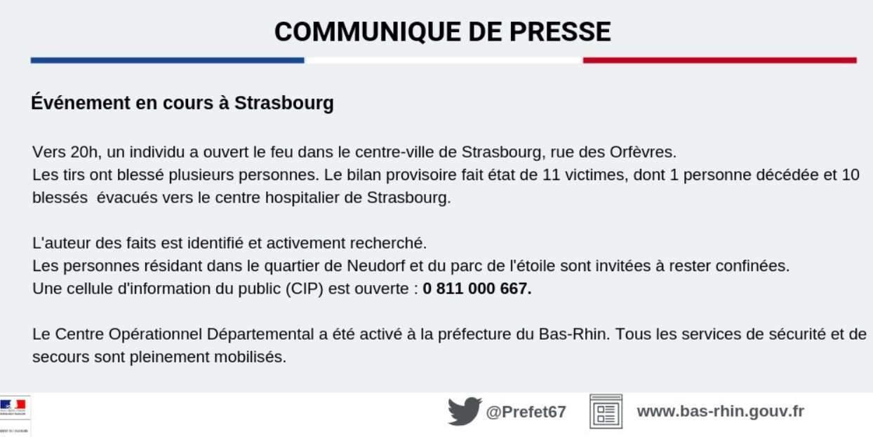 Communiqué de la préfecture de Strasbourg