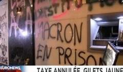 La colère des Gilets jaunes (capture Euronews)