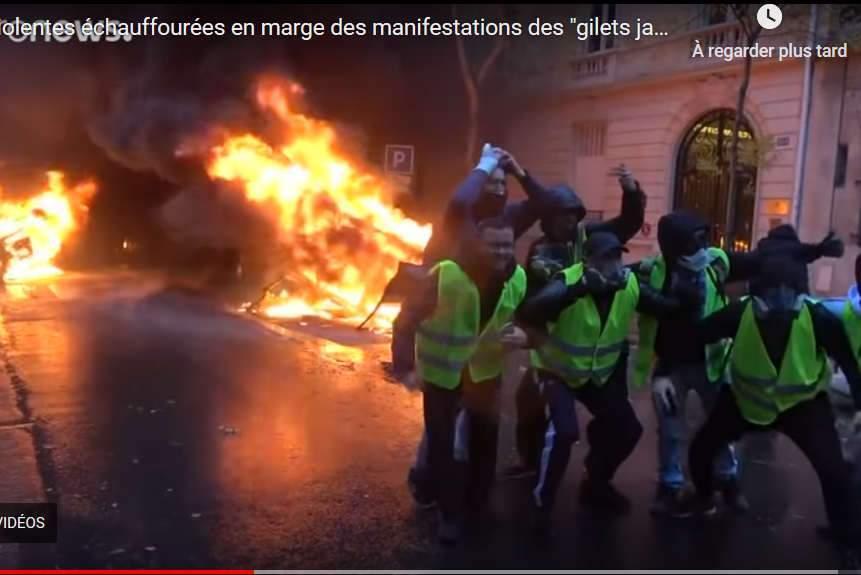 Scènes d'émeutes à Paris le 1er décembre 2018 (capture euronews)