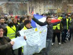 Manif des Gilets jaunes à Paris, le 8 décembre 2018 (capture euronews)