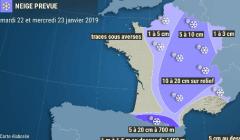 Episode de neige mardi et mercredi dans le Grand Est (carte Météo France)