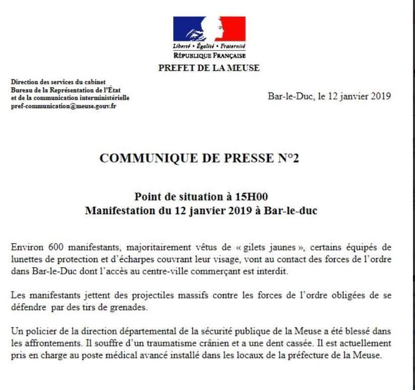 Communiqué de la préfecture de la Meuse (twitter)