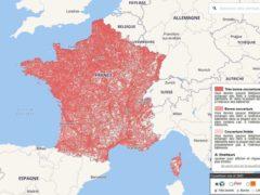 La carte de France de couverture voix et SMS des différents opérateurs mobile (Arcep)