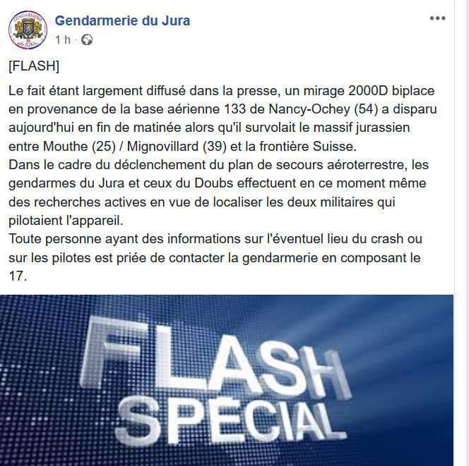Flash de la gendarmerie du Jury (capture Facebook)