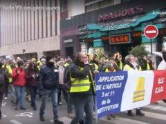 Gilets-jaunes, deux cortèges à Paris (capture euronews)