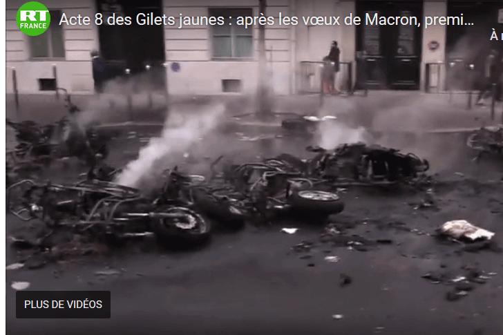 Gilets jaunes : des heurts à Paris (capture RT France)