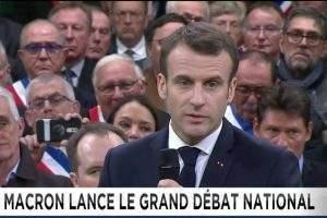 Le Président de la République lance le grand débat national (capture euronews)