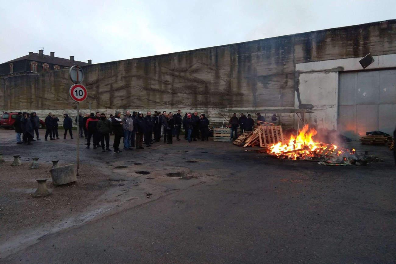 Manifestations des surveillants de prison devant le centre de détention de Toul en 2018 (DR)