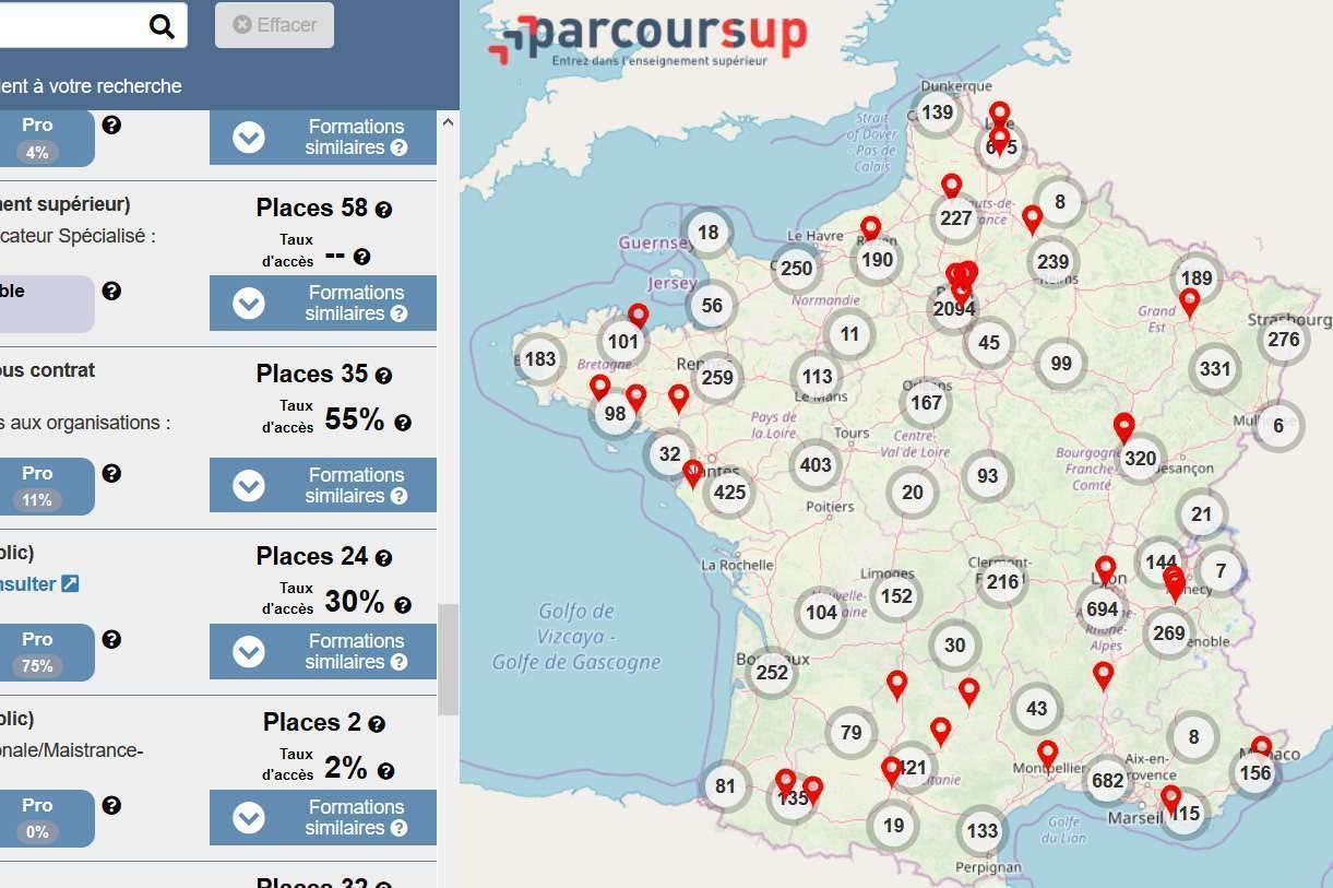 Parcoursup : une carte interactive