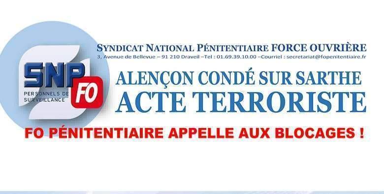 FO-Pénitentiaire appelle à la grève après l'attaque terroriste de Condé-sur-Sarthe