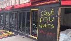 Le célèbre restaurant du Fouquet's détruit par les casseurs (capture Euro News)
