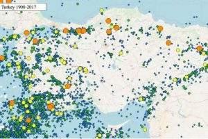 Les séismes en Turquie depuis l'année 1900, classés par magnitudes. Phoenix7777 , CC BY-SA