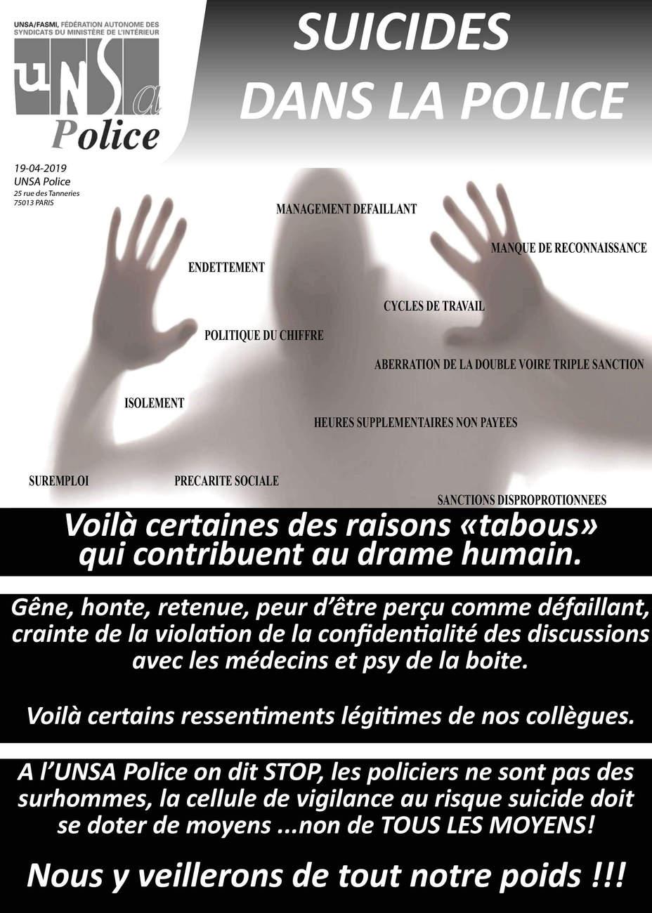 Suicides dans la police : l'UNSA tire une nouvelle fois la sonnette d'alarme (affiche UNSA)