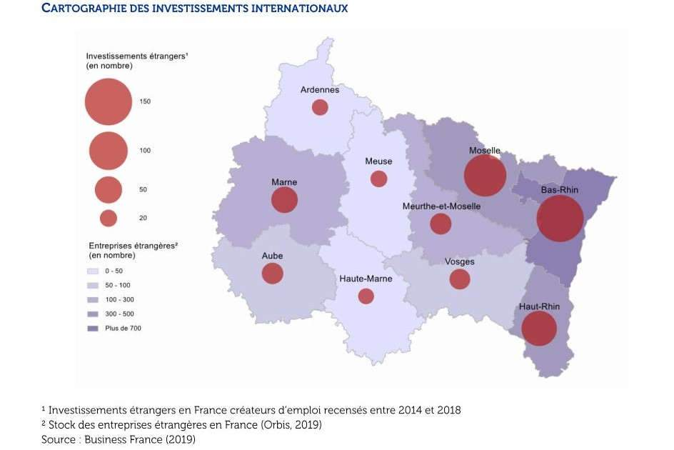 Les investissements étrangers en Grand Est (source Business France)