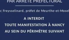 Périmètre limité de la manifestation à Nancy (préfecture 54)