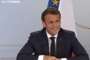 Le président de la République au cours de sa conférence de presse à l'Élysée le 25 avril 2019 (Capture Euro news)