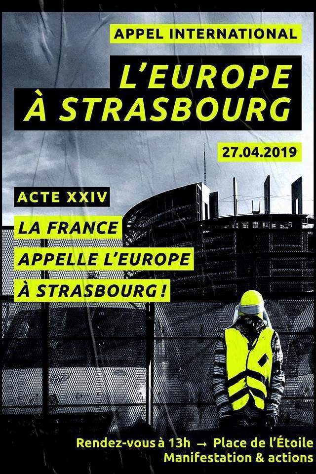 Appel international pour la manif à Strasbourg (affiche facebook)