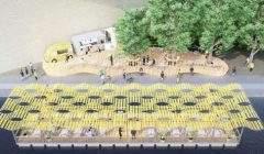 Dessin de la future terrasse flottante (Hapax architectures)