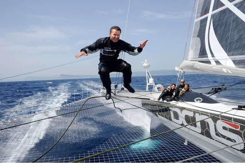 Alain Thebault sur son Hydroptère (Photo Francis Demange)