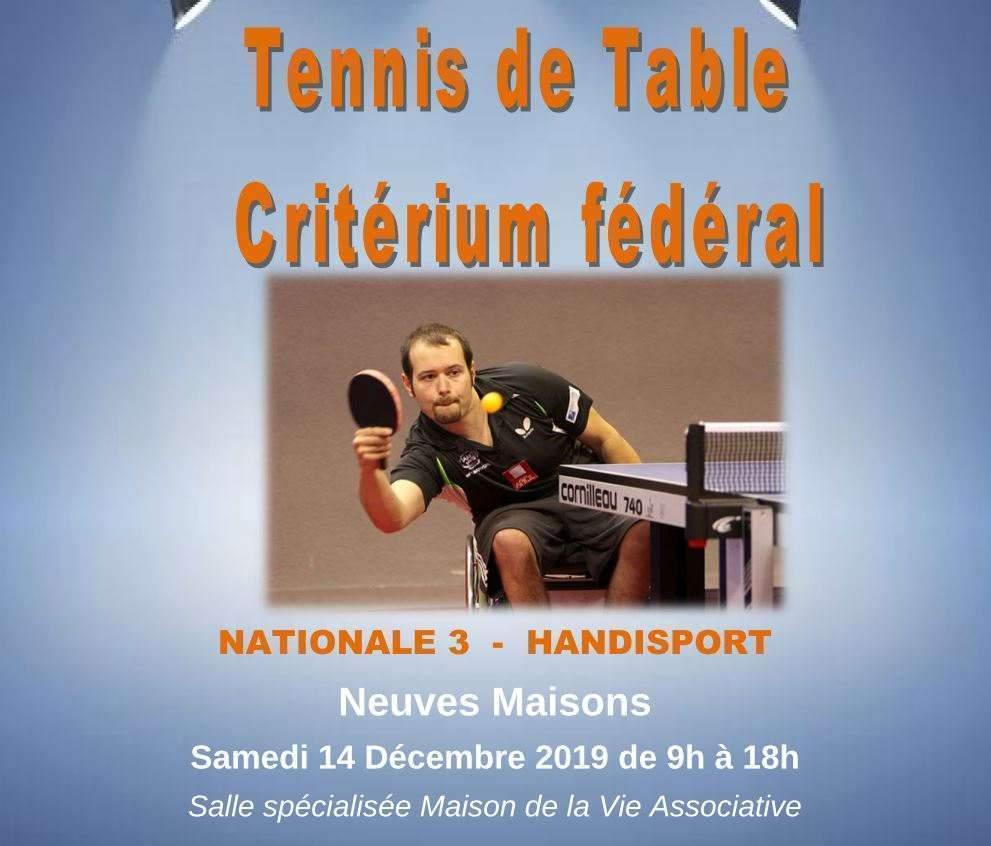 Neuves-Maisons (54) : Critérium handisport de tennis de table