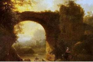 L'œuvre de Simon Mathurin Lantara, « Coucher de soleil » (XVIIIᵉ). Wikipedia
