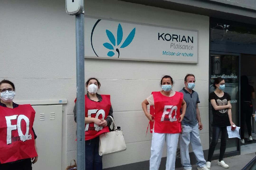 Korian : une partie du personnel manifeste devant l'Ehpad Plaisance de Nancy (DR)
