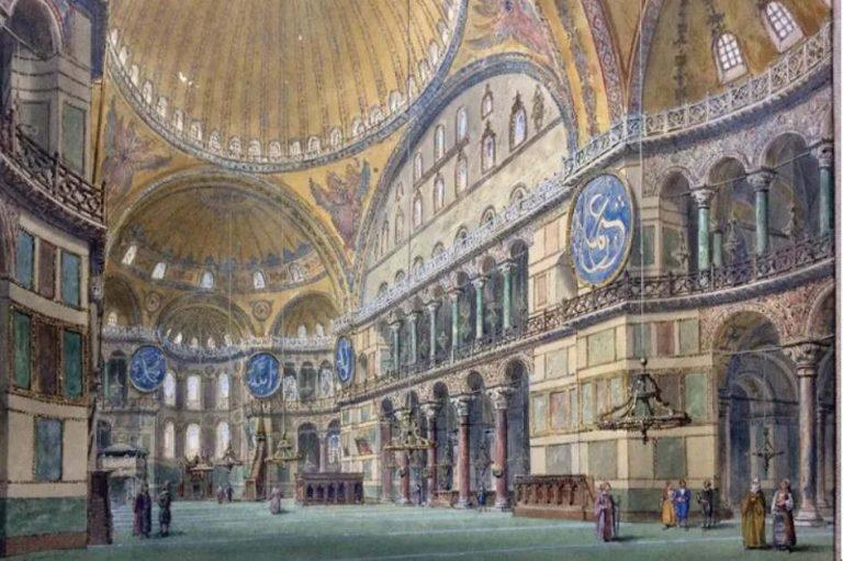 La basilique Sainte Sophie, aquarelle, 1893. Wikipedia/Divdaniel, CC BY-SA